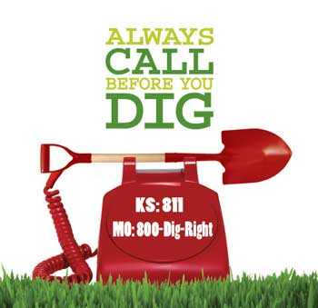Call before you dig text with telephone and shovel